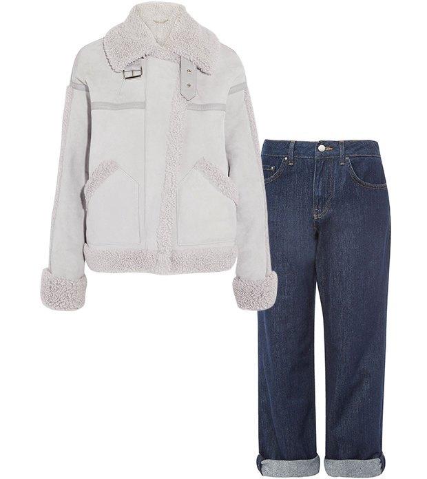 Комбо: Дублёнка c укороченными джинсами. Изображение № 2.