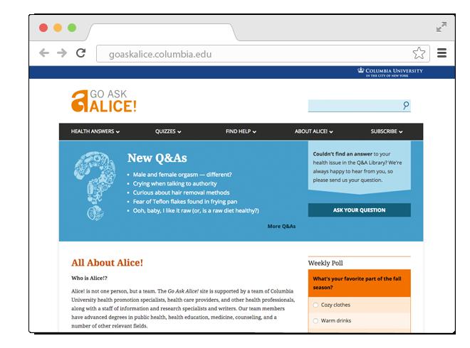 В закладки: Надёжный сайт о здоровье и отношениях Go Ask Alice!. Изображение № 1.