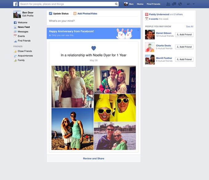 Так будет выглядеть поздравление от Facebook. Изображение № 1.