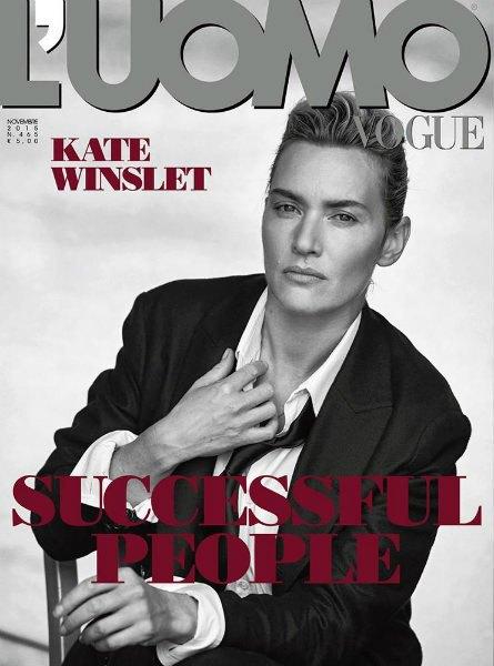 Кейт Уинслет в мужском образе на обложке L'Uomo Vogue . Изображение № 1.