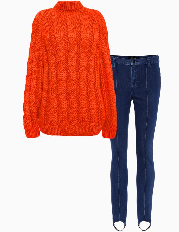 Комбо: Объёмный свитер c брюками со штрипками. Изображение № 3.