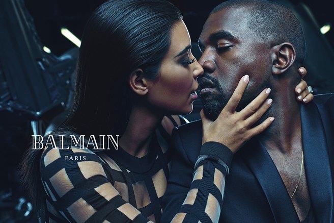 Страстные и роскошные: Ким и Канье украсили собой рекламу Balmain. Изображение № 1.