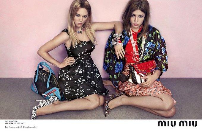 Главные героини «Жизни Адель» в рекламной кампании Miu Miu. Изображение № 1.