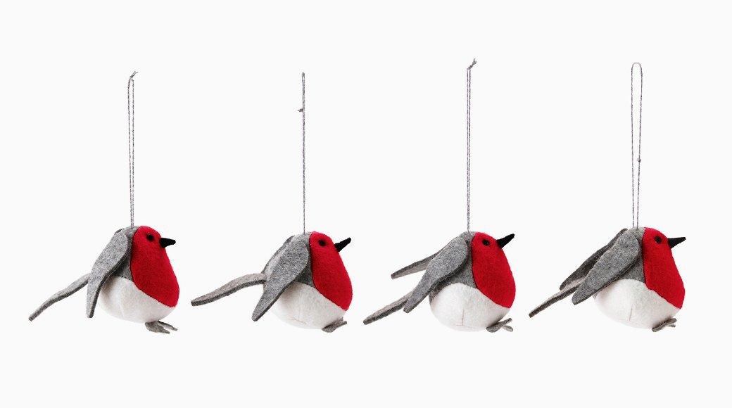 Елочные игрушки IKEA:  Квартет снегирей  и домики для них. Изображение № 1.