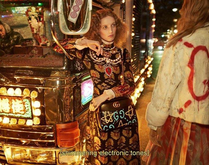 Вышла кампания Gucci  с Петрой Коллинз и ночным Токио. Изображение № 1.