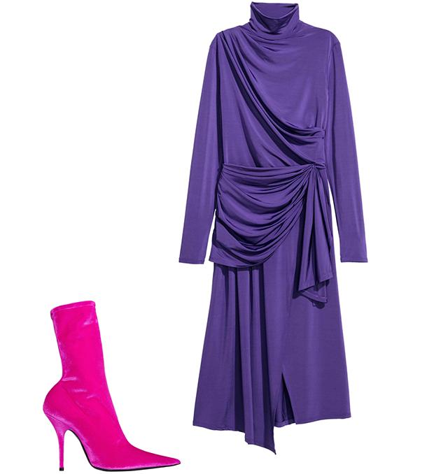 Комбо: Нарядное платье с остроносыми ботильонами. Изображение № 2.