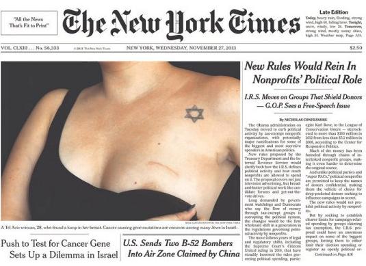 The New York Times вышла с обнаженной грудью на первой полосе. Изображение № 1.