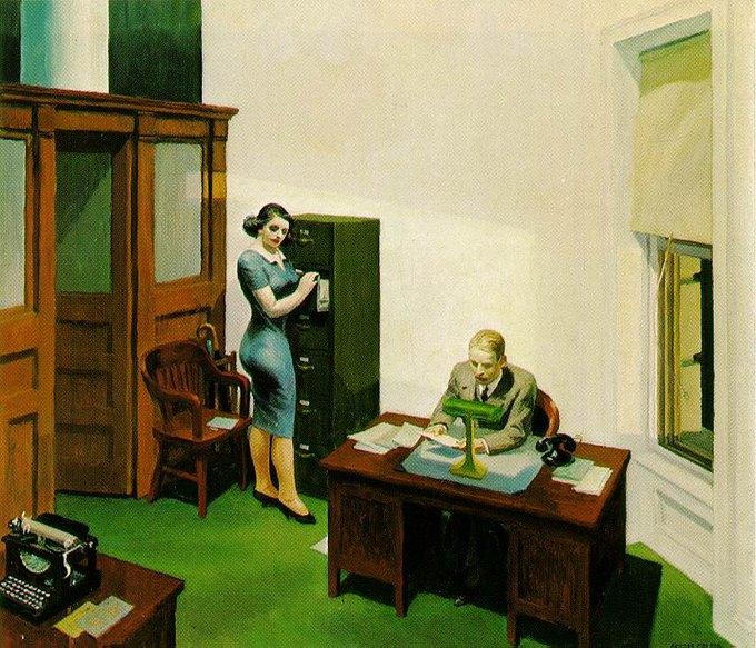 Эдвард Хоппер Office at Night, 1940.. Изображение № 3.