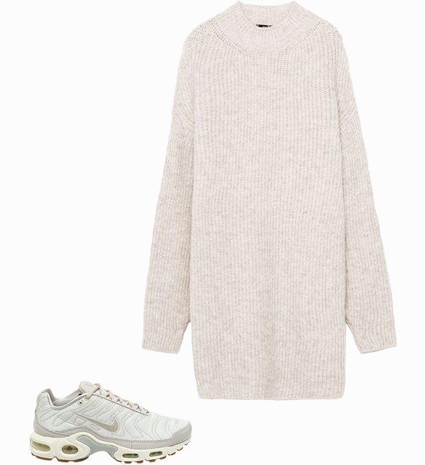Комбо: Трикотажное платье с кроссовками. Изображение № 1.