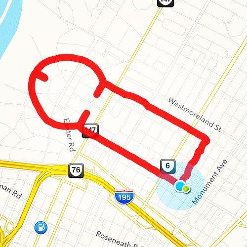 Американка превращает маршруты тренировок Nike+ в рисунки пенисов. Изображение № 4.