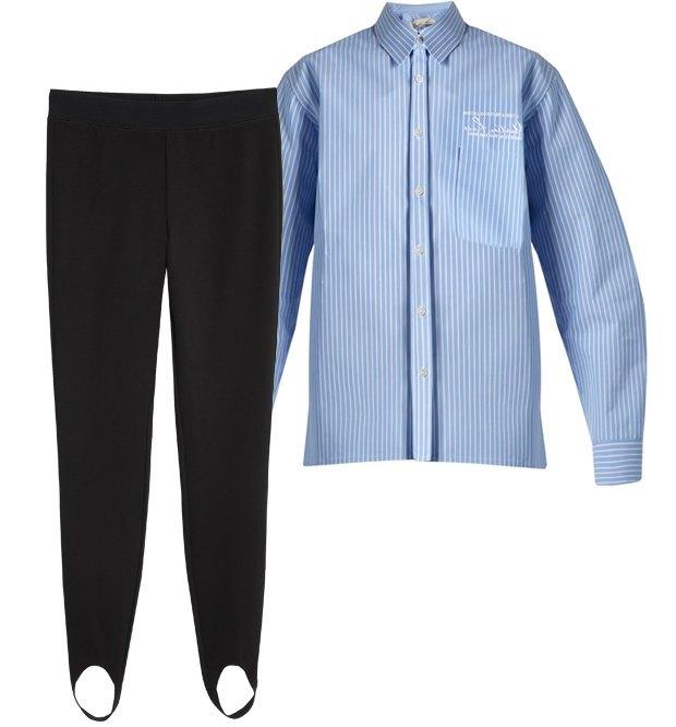 Комбо: Рубашка с объёмными плечами с брюками. Изображение № 2.