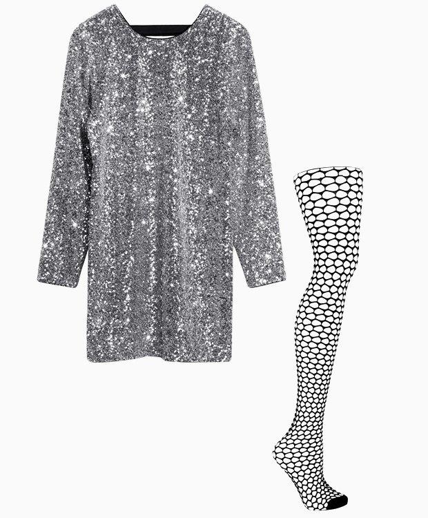 Комбо: Нарядное платье с колготками в сетку. Изображение № 1.