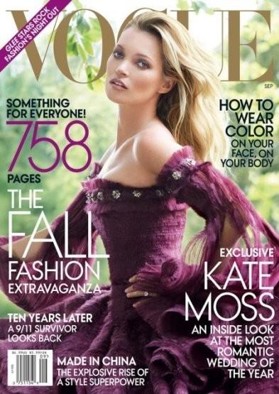 Кейт Мосс на обложке американского Vogue, сентябрь 2011. Изображение № 1.