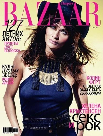Хелена Кристенсен на обложке российского Harper's Bazaar, май 2011. Изображение № 17.