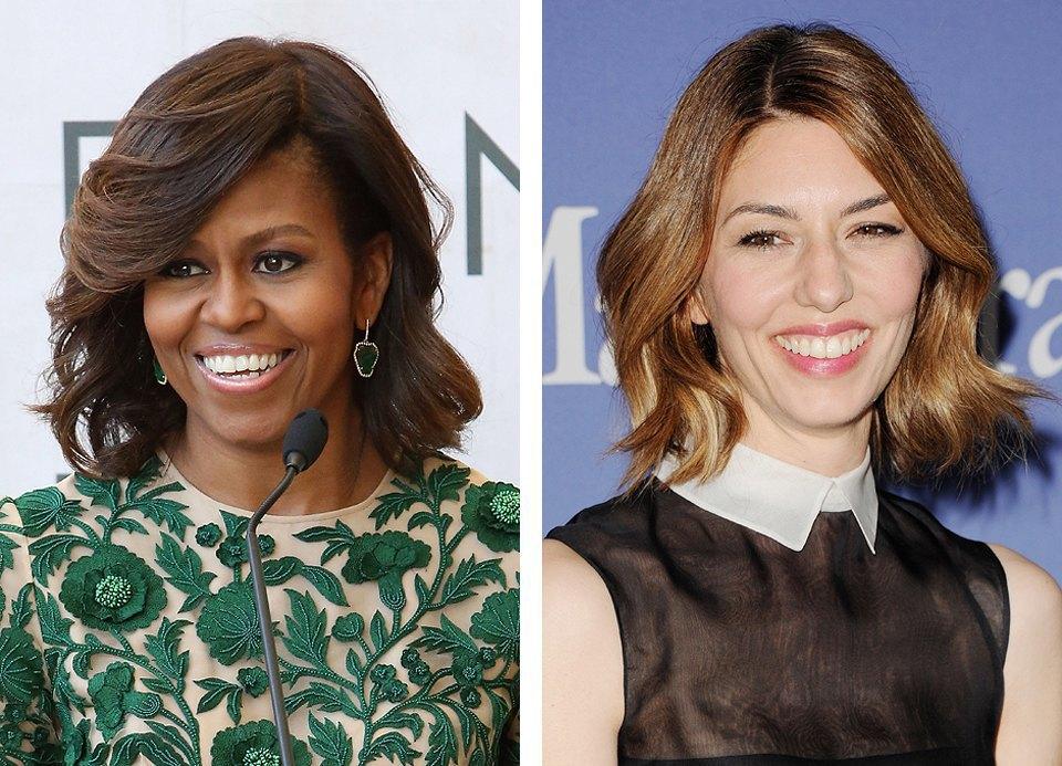 Прически Мишель Обамы и Софии Копполы выглядят гармонично, но не скучно и украшают их лица. Изображение № 4.