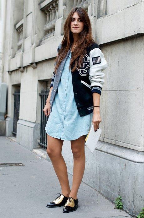 Платье-рубашка и бомбер — хорошая интерпретация университетского стиля для Недели моды. Изображение № 26.