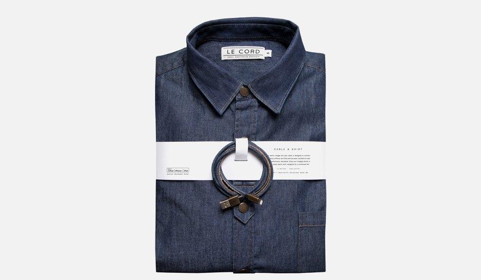 Комплект из джинсового кабеля для айфона и рубашки. Изображение № 1.