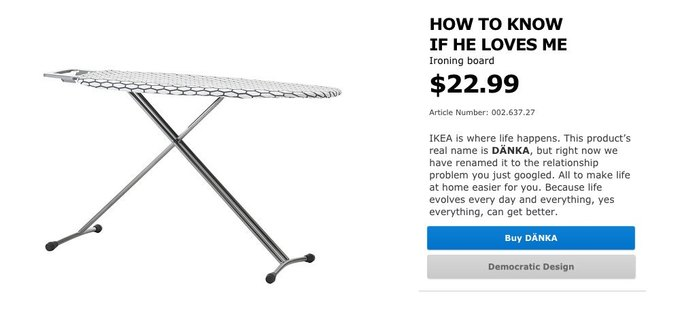 Товары IKEA назвали в честь популярных запросов  в Google. Изображение № 5.
