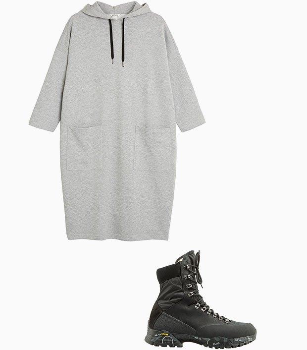 Комбо: Зимние ботинки с платьем-худи. Изображение № 3.