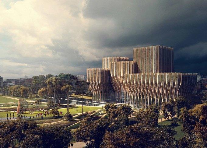Заха Хадид спроектировала мемориальное здание  в Камбодже. Изображение № 1.