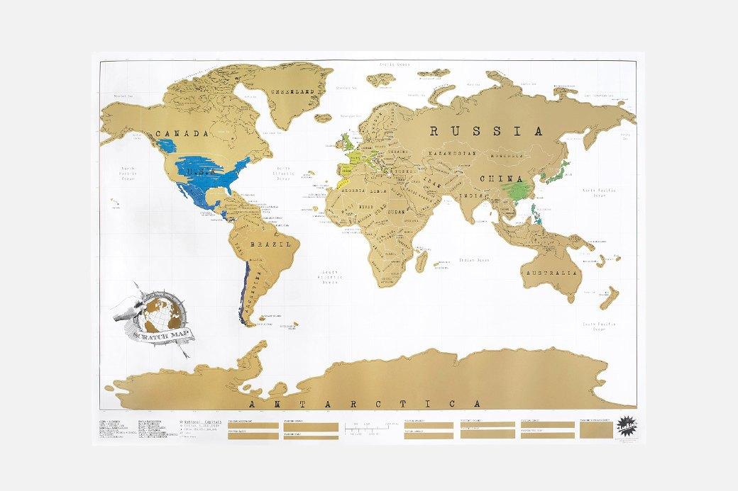 Настенная карта со стираемым слоем  для любителей путешествий. Изображение № 1.