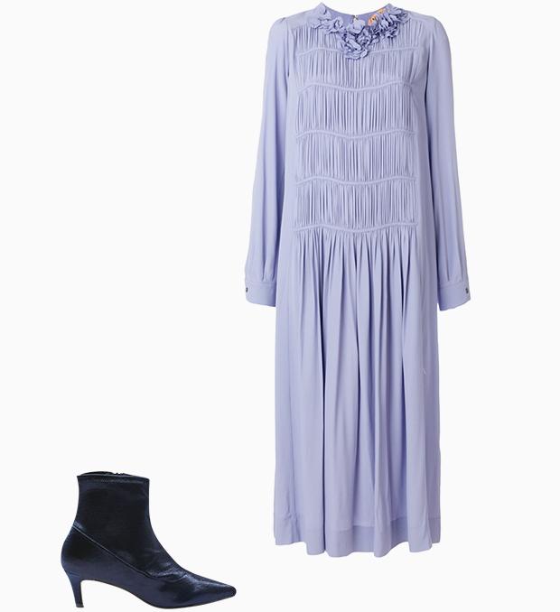 Комбо: Нарядное платье с остроносыми ботильонами. Изображение № 3.