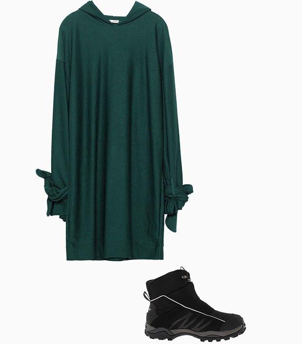Комбо: Зимние ботинки с платьем-худи. Изображение № 1.