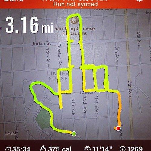 Американка превращает маршруты тренировок Nike+ в рисунки пенисов. Изображение № 6.