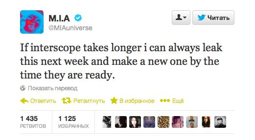 M.I.A. угрозами вынудила лейбл выпустить свой новый альбом . Изображение № 2.