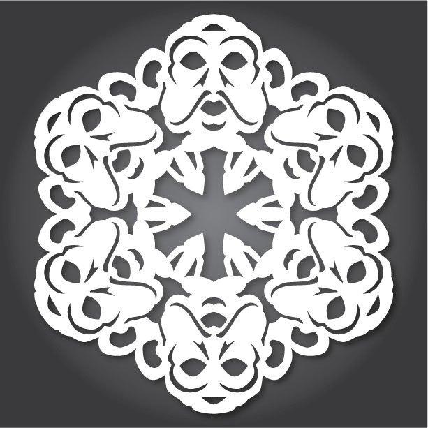 Снежинки с героями «Звездных войн» можно скачать и распечатать. Изображение № 8.