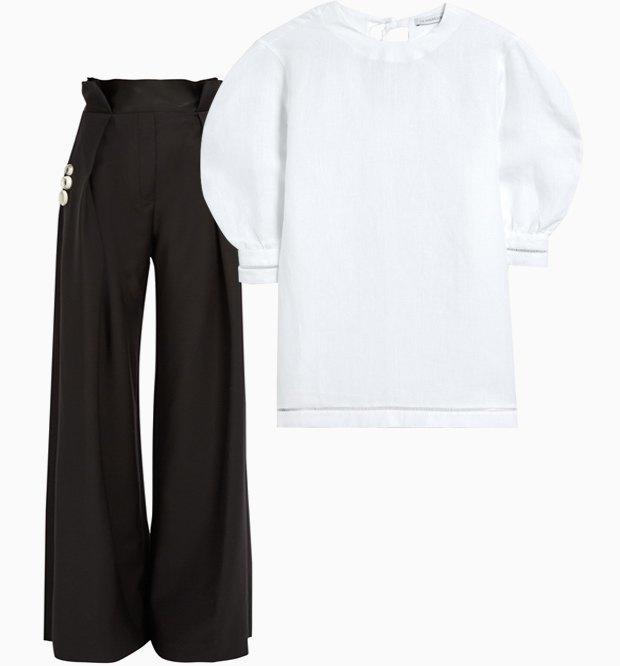 Комбо: Рубашка с объёмными плечами с брюками. Изображение № 1.