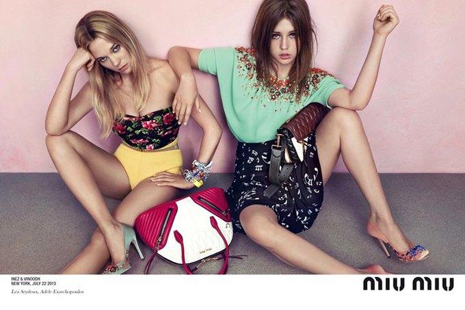Главные героини «Жизни Адель» в рекламной кампании Miu Miu. Изображение № 2.