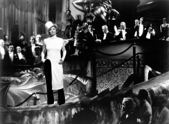 Марлен Дитрих в «Белокурой Венере». На ней топ и штаны Balenciaga. Изображение № 16.