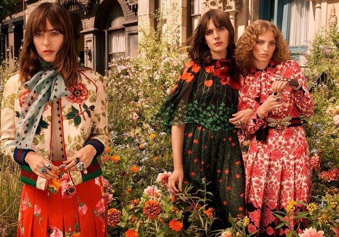 Хари Неф, Петра Коллинз  и Дакота Джонсон снялись  в рекламе Gucci. Изображение № 1.