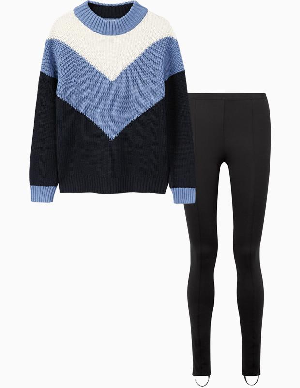 Комбо: Объёмный свитер c брюками со штрипками. Изображение № 1.