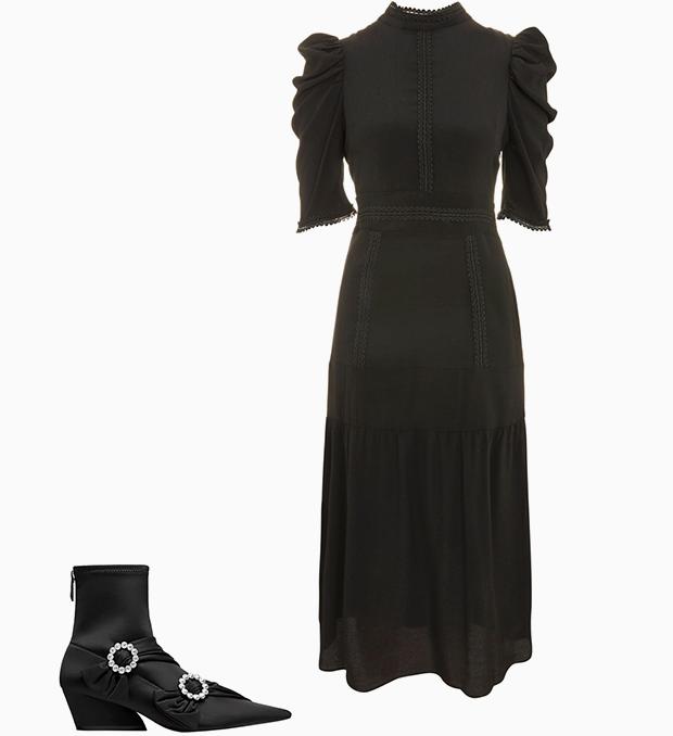 Комбо: Нарядное платье с остроносыми ботильонами. Изображение № 1.