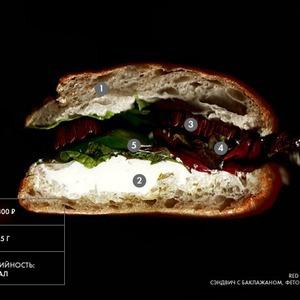 Составные части: Cэндвич с баклажаном, фетой и спаржей из Red Espresso Bar — Составные части на The Village