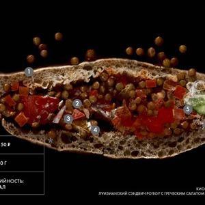Составные части: сэндвич Po'Boy с греческим салатом и чечевицей из киоска «Стрелки» — Составные части на The Village