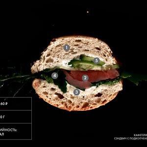 Составные части: Сэндвич с подкопченным лососем из кафетерия «Голубка» — Составные части на The Village