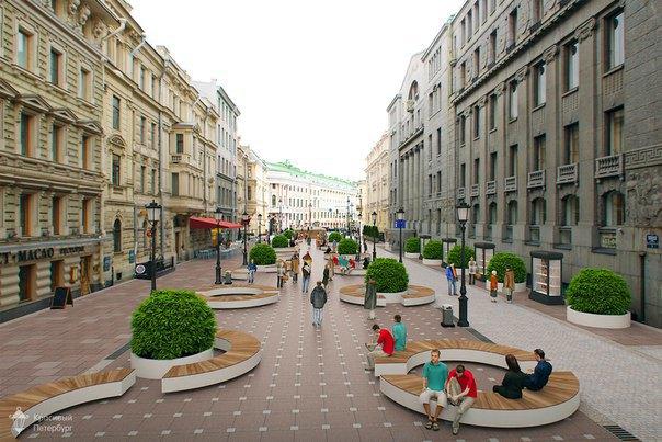 Движение «Красивый Петербург» разработало концепцию пешеходной зоны наБольшой Морской улице. Изображение № 1.