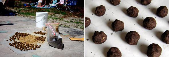 Cеменные бомбы, главное зелёное оружие партизан. Внутри шариков семена с землей, которые быстро разрастаются. Изображение № 5.