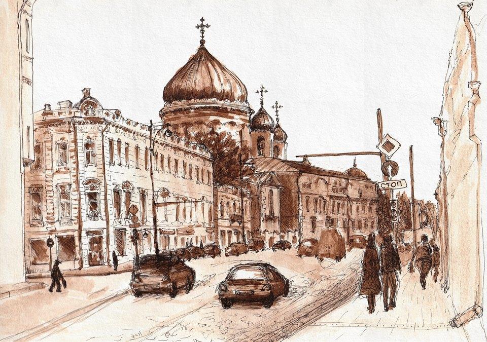 Выставка «Москва вэскизах LAM Sketching Club» впарке «Музеон». Изображение № 8.