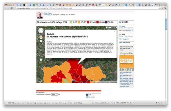 Карта не только показывает среднее число убийств в каждом районе, но и приводит имена и возраст жертв. Изображение № 22.