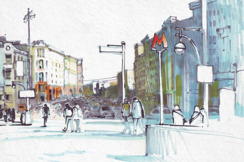 Выставка «Москва вэскизах LAM Sketching Club» впарке «Музеон». Изображение № 3.