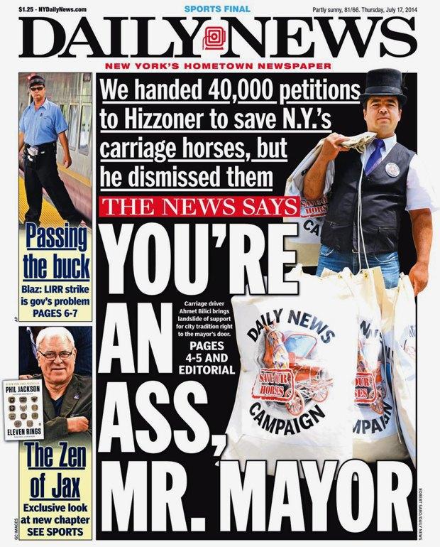«You're an ass, Mr. mayor» на обложке Daily News. Изображение № 1.