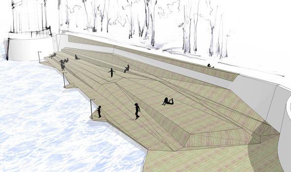 Изображение 8. В парке Горького начали строить деревянный пляж.. Изображение № 9.