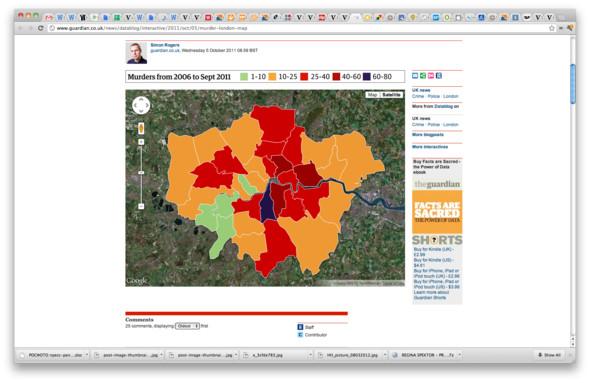 На основе открытых данных полиции в Лондоне составили карту убийств по районам города. Изображение № 21.