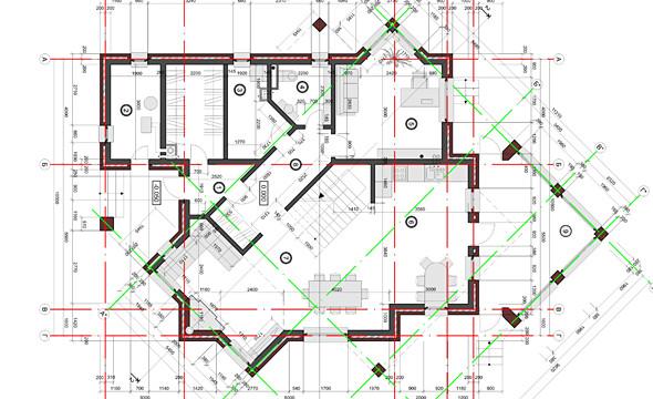 Основой формообразования дома является взаимное проникновение двух структур. Одна повернута к другой под углом 45 градусов. Они обозначены на фасадах материалом различного тона. В результате такого взаимодействия возникает интересный объем и сложное внутреннее пространство.. Изображение № 61.