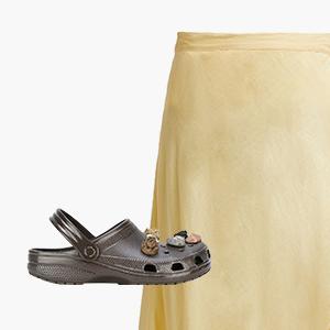 Комбо: Юбка с запа́хом с удобными тапочками — Стиль на Wonderzine