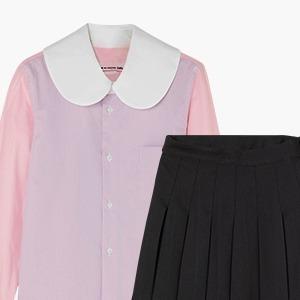 Комбо: Блузка с необычным воротничком с юбкой в складку — Стиль на Wonderzine
